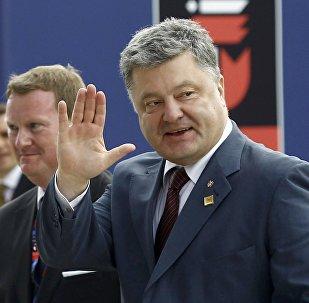 Presidente de Ucrania, Petró Poroshenko, durante la cumbre de la OTAN en Varsovia, el 8 de julio de 2016