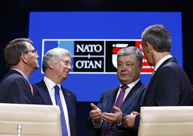 El presidente ucraniano Petró Poroshenko durante la cumbre de la OTAN en Varsovia