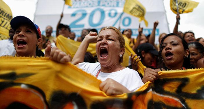 Una manifestación de los partidarios de la oposición en Caracas