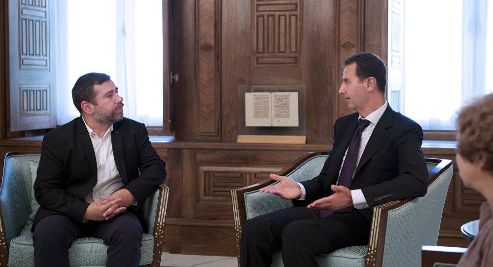 Presidente de Siria, Bashar Asad, durante una reunión en Damasco con una delegación liderada por el eurodiputado Javier Couso