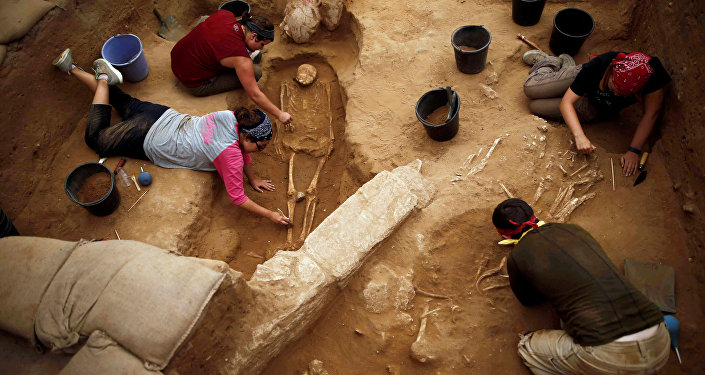 El cementerio filisteo en la ciudad de Ascalón, Israel