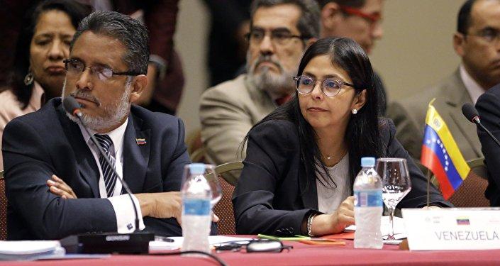 La delegación venezolana en una sesión de Mercosur