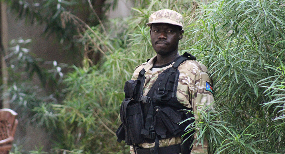 Un policía de Sudán del Sur