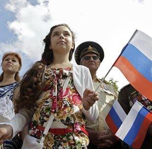 La población de Crimea celebra el día de la bandera de Rusia