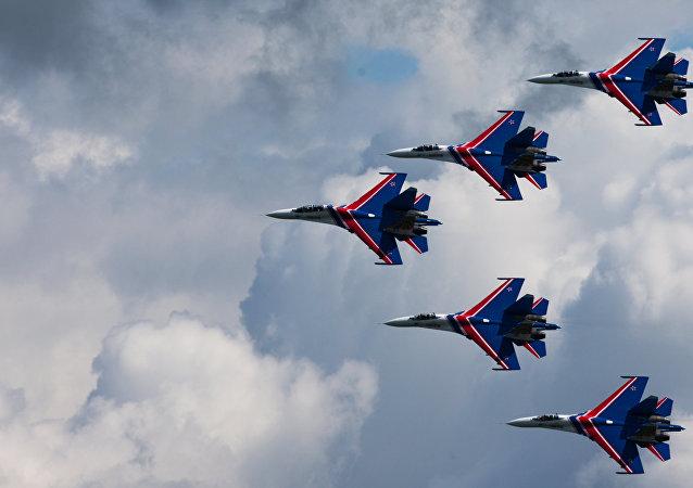 El equipo acrobático aéreo ruso Rúskiye Vítiazi (archivo)