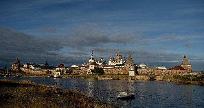 El Monasterio de Solovetsky, las islas Solovetsky en el mar Blanco