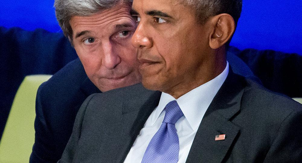 Presidente de EEUU, Barack Obama y el  el secretario de Estado estadounidense, John Kerry