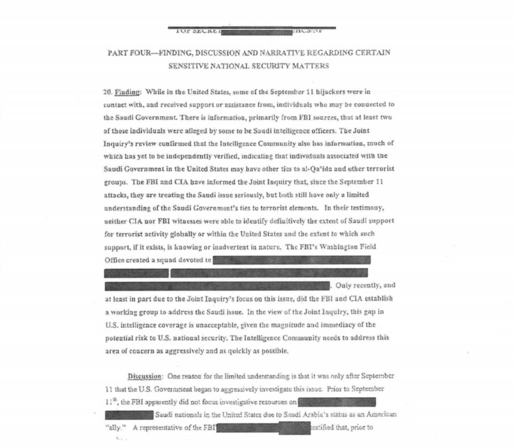La primera página de la parte desclasificada del informe