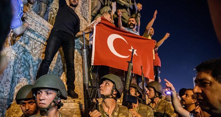 La plaza de Taksim durante el golpe de Estado