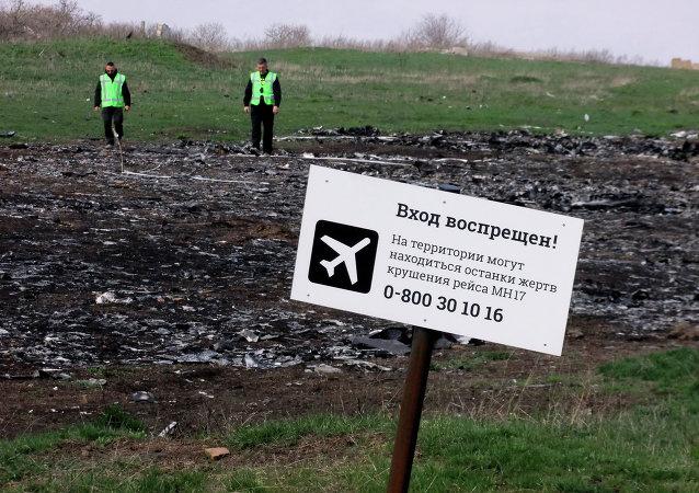 El lugar de la catástrofe de MH17 Boeing