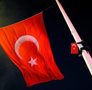 Bandera de Turquía en la noche del fallido golpe de Estado