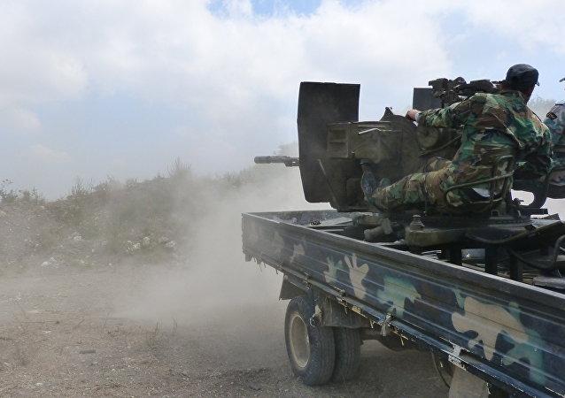 El Ejército sirio durante los combates en los suburbios de la ciudad de Salamiyah, en la provincia de Hama