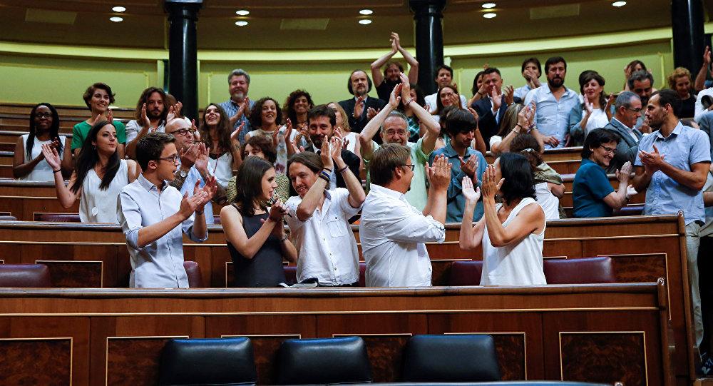 Miembros de la coalición Unidos Podemos