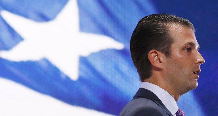 Donald Trump Jr., hijo del candidato republicano Donald Trump, en la Convención Nacional Republicana en Cleveland