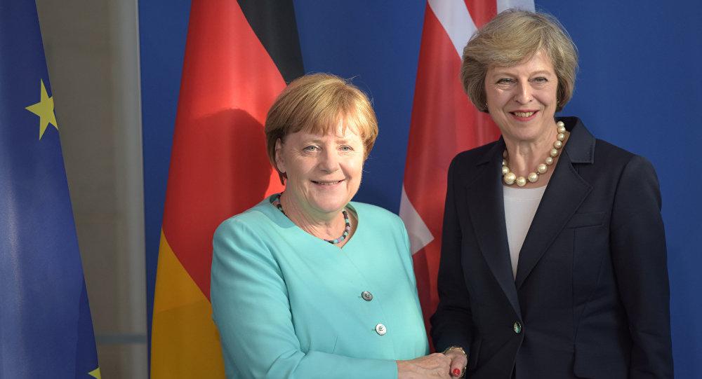 Angela Merkel, canciller de Alemania, y Theresa May, primera ministra de Reino Unido (archivo)