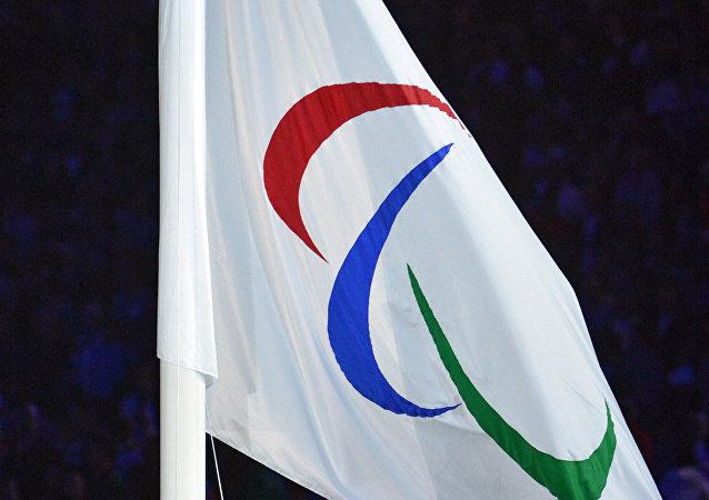 Bandera con el logo de Comité Paralímpico Internacional
