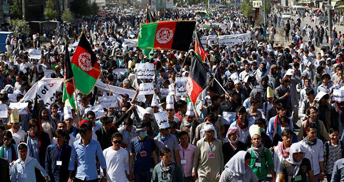 La manifestación de los chiíes jazaras antes del ataque suicida