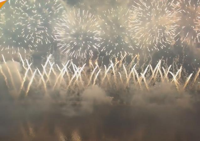 El Festival de Fuegos Artificiales de Moscú, a vista de pájaro