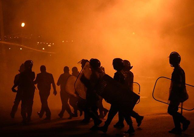 La policía en Ereván