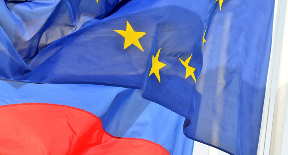 Banderas de Rusia y la unión Europea