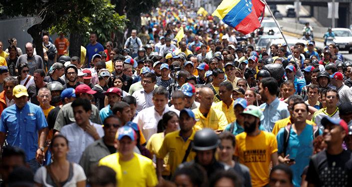 Una marcha de la oposición en Caracas, Venezuela (archivo)