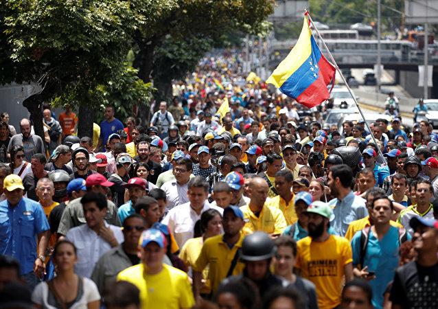 Venezolanos en una protesta (archivo)