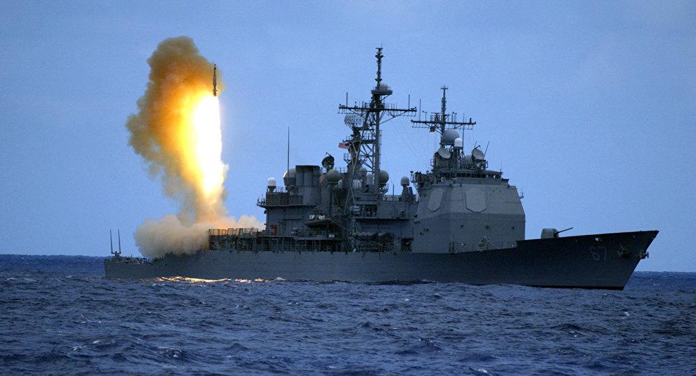 Misil SM-3 lanzado desde el destructor de las Fuerzas Navales de los EEUU USS Shiloh (archivo)