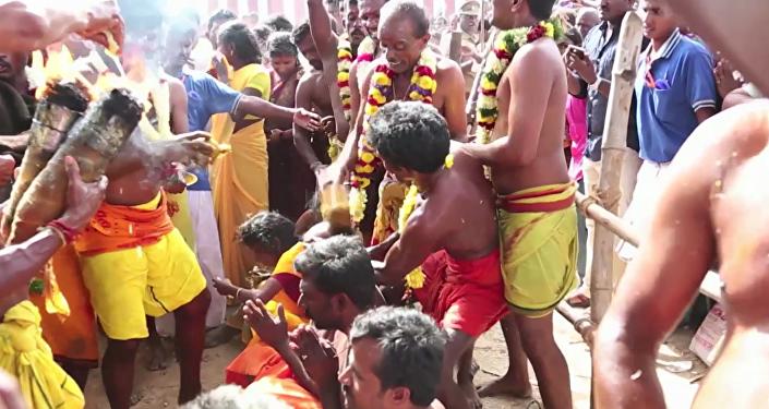 El dolor no existe: en la India parten cocos con la cabeza