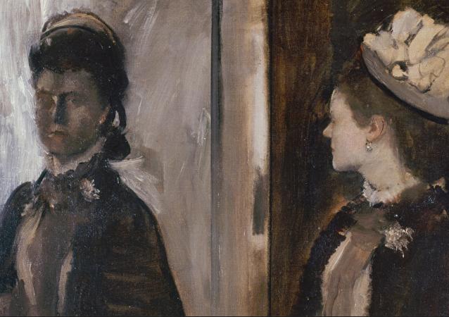 Madame Jeantaud en el espejo, Edgar Degas. Detalle