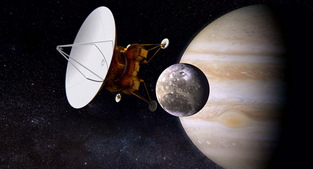 Estacion interplanetaria Laplace llega a Ganímedes, satélite de Júpiter