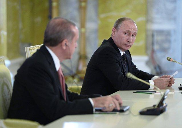 Presidente de Turquía, Recep Tayyip Erdogan y presidente de Rusia, Vladímir Putin