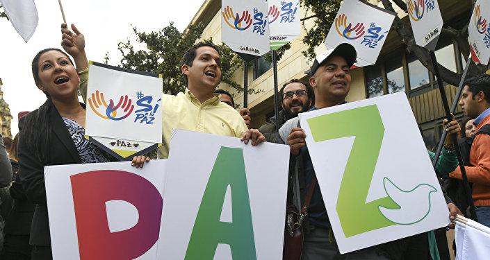 Manifestación pacífica en Bogotá