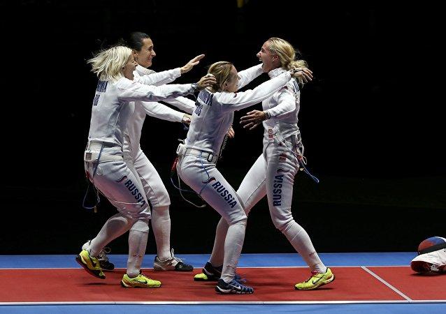 La selección femenina rusa de esgrima