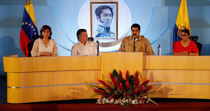 María Ángela Holguín, Juan Manuel Santos, Nicolás Maduro y Delcy Rodríguez