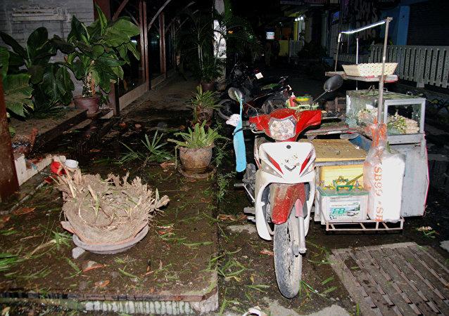 El lugar de la explosión en Hua Hin, Tailandia