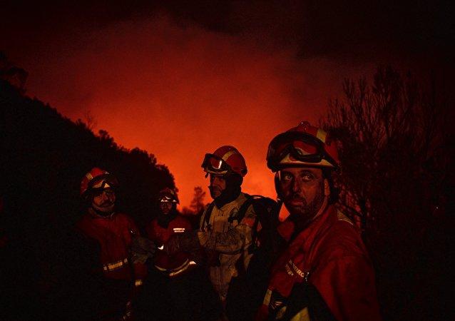 Bomberos luchando contra los incendios forestales