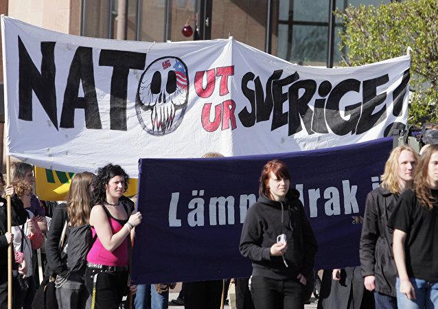 Una manifestación contra la OTAN en Suecia