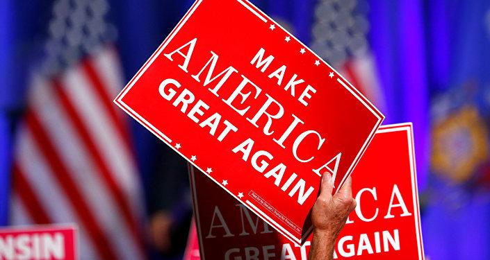 Un cartel que dice 'Hacer otra vez grande a América'
