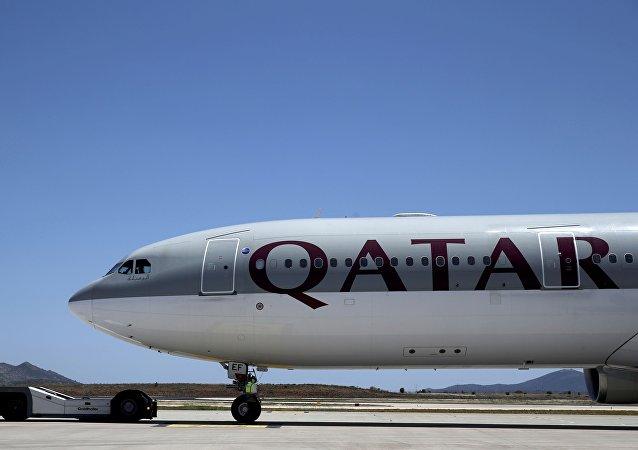 Un avión de la compañía Qatar Airways