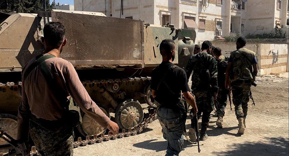 Soldados del Ejército sirio en Alepo