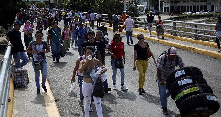 El puente Simón Bolívar en la frontera entre Venezuela y Colombia