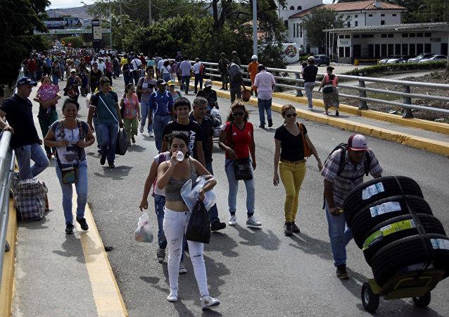 El puente Simón Bolívar, en la frontera entre Venezuela y Colombia