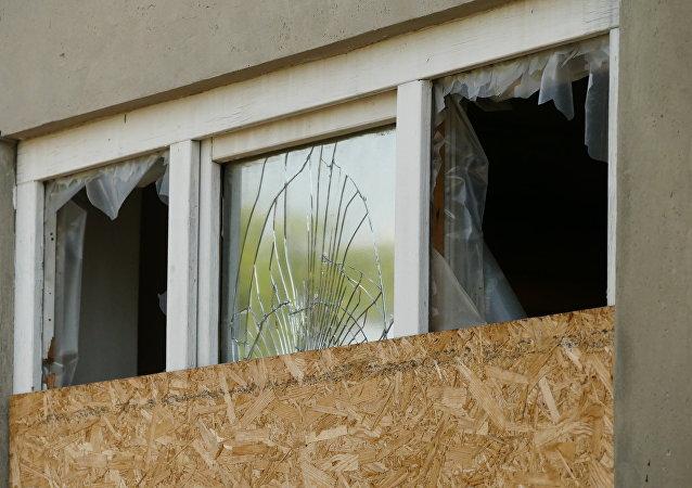 Edificio destruido en la región de Donetsk