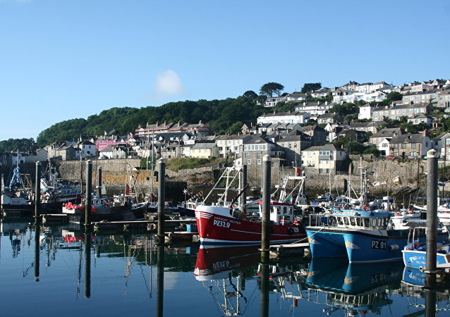 Fishing boats are pictured in Newlyn Harbour in south west England on June 16, 2016.