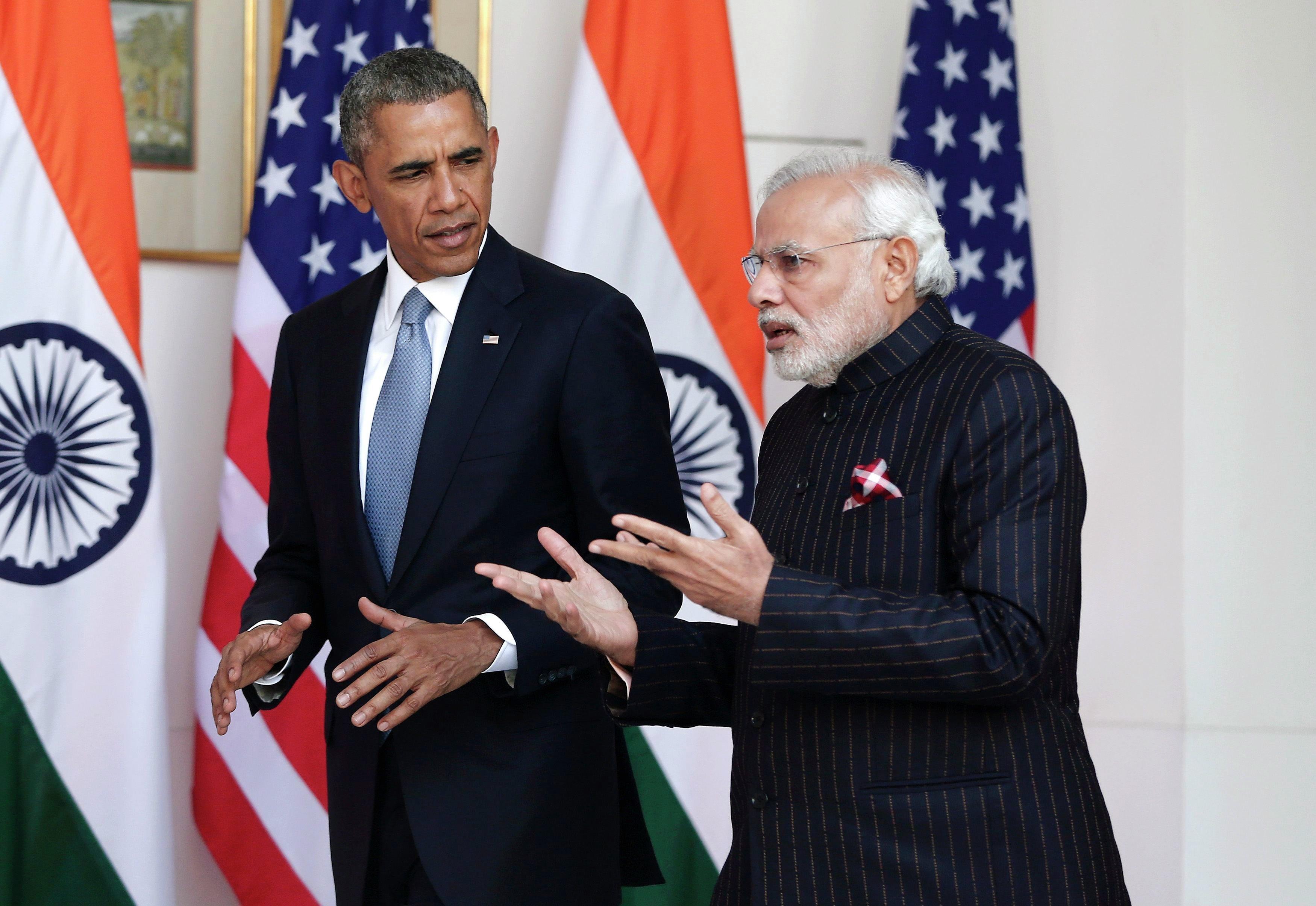 Barack Obama, presidente de EEUU, y Narendra Modi, primer ministro de la India
