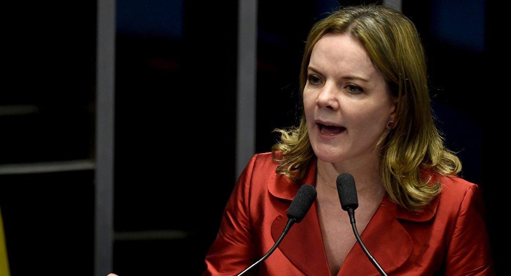 La presidenta del Partido de los Trabajadores (PT) de Brasil, Gleisi Hoffmann