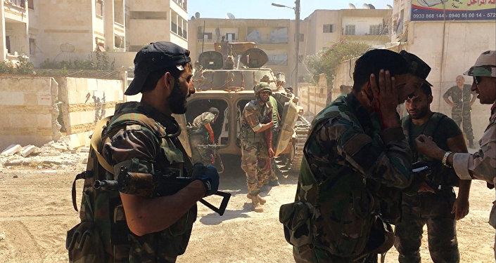 El Ejército sirio en la ciudad de Alepo