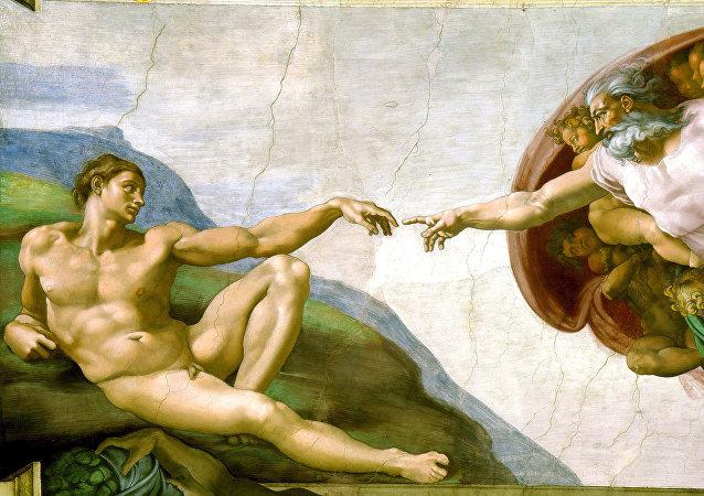 La creación de Adán, fresco pintado por Miguel Ángel