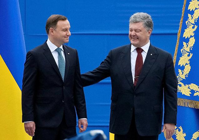 El presidente de Polonia Andrzej Duda y el presidente de Ucrania, Petró Poroshenko