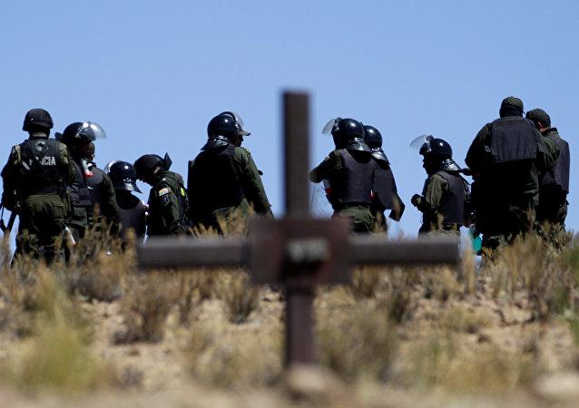 Policías bolivarianas durante protestas de mineros